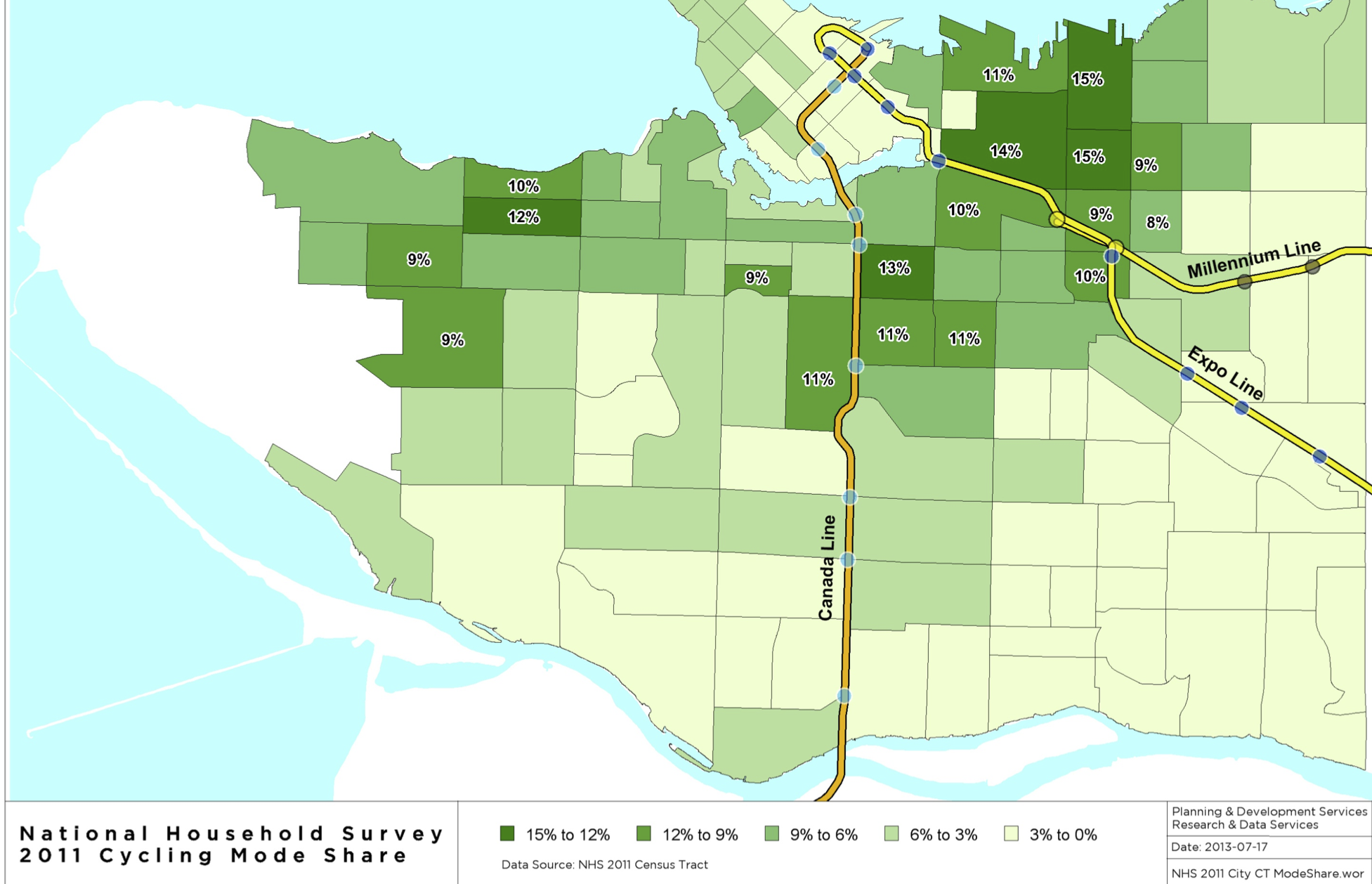 2011 Census Cycling Commuting Mode Share - City of Vancouver